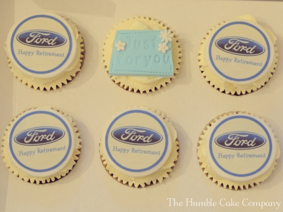 Retirement cupcakes by The Humble Cake Company. Cupcake Toppers by The Cupcake Company. Cupcake boxes by Card Cuts